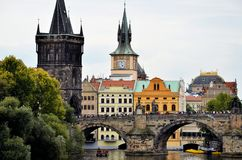 The Charles bridge over the Vltava river Royalty Free Stock Photos