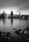 Charles Bridge over Vltava river in Prague Royalty Free Stock Photo