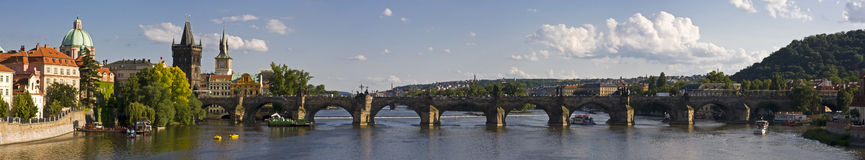 Charles Bridge Panorama. Charles Bridge is a famous historical bridge that crosses the Vltava river in Prague, Czech Republic Royalty Free Stock Images
