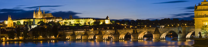 Charles Bridge Panorama. Charles Bridge is a famous historical bridge that crosses the Vltava river in Prague, Czech Republic Royalty Free Stock Photos