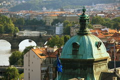 Charles Bridge, Panorama of the Lesser Town, Prague, Czech Republic Royalty Free Stock Photos