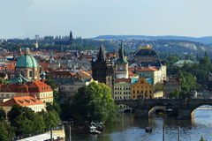 Charles Bridge, Panorama of the Old Town, Prague, Czech Republic Stock Photo