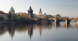 Charles bridge panorama in Prague at sunset, Czech republic, Eur Royalty Free Stock Photography