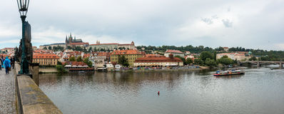 Charles Bridge Panorama. View from the Charles Brigde in Prague, Czech Republic Stock Images