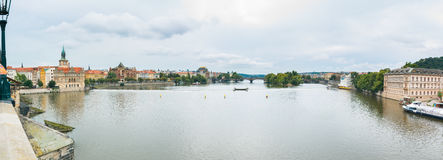 Charles Bridge Panorama 2. View from the Charles Brigde in Prague, Czech Republic Royalty Free Stock Photos