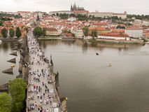 Charles Bridge with Pedestrians Stock Image