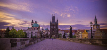 Charles Bridge in Praag Stock Foto