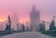 Charles Bridge in Praag bij schemer bij ochtend in mist Stock Foto's