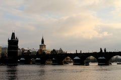 Charles Bridge in Praag, Tsjechische Republiek Stock Foto