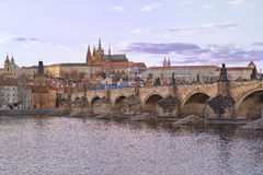 Charles Bridge in Prag on a cloudy day Royalty Free Stock Photography