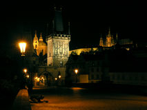 Charles Bridge in Prague. Charles Bridge and Prague castle in Prague at night Stock Images