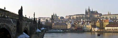 Charles Bridge in Prague. Panorama of Charles Bridge in Prague (Czechia Royalty Free Stock Photos