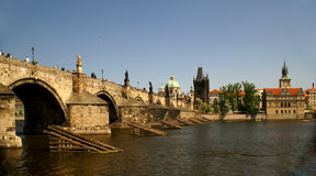 Charles Bridge Prague. Historic Charles Bridge in Prague over Vltava River Royalty Free Stock Photo