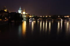 Charles bridge in Prague. Scenery of night charles bridhe in Prague Stock Image