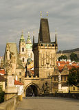 Charles Bridge, Prague. A view of Prague looking along the Charles Bridge towards the Old Town and the Hradcany castle royalty free stock images