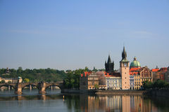 Charles bridge in Prague. View of the charles bridge with its bridge towers. Prague, Czech Republic Royalty Free Stock Photo