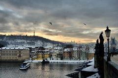 Charles Bridge in Prague. Prague's famous Charles Bridge at dusk - one of Prague's most important touristic points Royalty Free Stock Photography