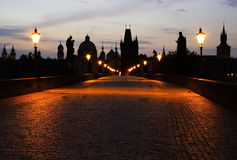 Charles Bridge in Prague. Mysteriously looking bridge at dawn Stock Photography