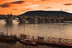 Charles Bridge from Prague. Dusk image of Vltava river and Charles Bridge in Prague Royalty Free Stock Photo