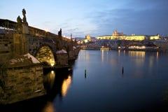 Charles Bridge and Prague Castle. Stock Photos