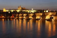 Charles Bridge and Prague Castle. At Twilight, Prague, Czech Republic Stock Photo