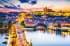 Charles Bridge and Prague Castle, Czech Republic Royalty Free Stock Image
