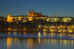 Charles Bridge and Prague Castle at dusk Stock Image