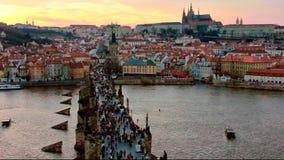 Charles bridge and Prague castle at evening. Czech Republic stock video footage