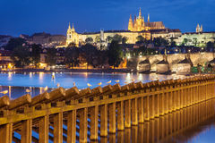 Charles Bridge and Prague Castle from Lavka Royalty Free Stock Photo