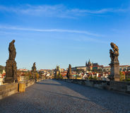 Charles bridge and Prague castle in the morning Royalty Free Stock Photos