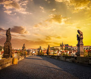 Charles bridge and Prague castle in the morning Royalty Free Stock Photo
