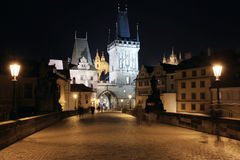 Charles Bridge in Prague with Castle in the Night Royalty Free Stock Photo