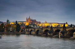 Charles Bridge and Prague Castle in nigth view Royalty Free Stock Photos