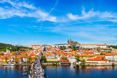 Charles bridge and Prague castle from Old town Stock Photo