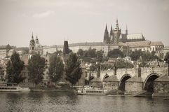 Charles bridge and Prague Castle, Prague Royalty Free Stock Images