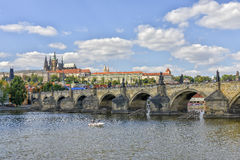 Charles Bridge and Prague Castle, Prague, Czechoslovakia Stock Photo