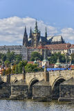Charles Bridge and Prague Castle, Prague, Czechoslovakia Stock Images