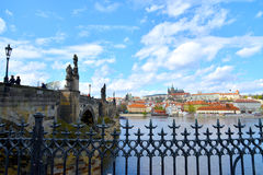 Charles Bridge and the Prague castle. In a sunny day Royalty Free Stock Images