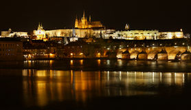 Charles Bridge and Prague Castle Tower Stock Photos