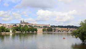 Charles Bridge and Prague Castle. Stock Photos