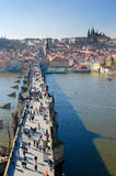 Charles Bridge, Prague Castle, Vltava river Royalty Free Stock Images