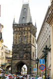 Charles Bridge in Prague from city street view Stock Photography