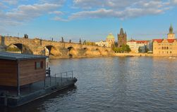 Charles bridge in Prague, Czech republic. Charles bridge in Prague in autumn evening, Czech republic Royalty Free Stock Image