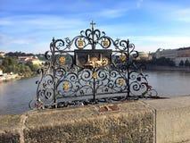 Charles Bridge, Prague, Czech Republic. Decorative Lattice Where St. John Of Nepomuk Was Thrown Into The River Royalty Free Stock Photo