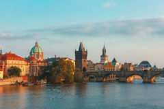 Charles Bridge in Prague (Czech Republic) at evening Stock Image