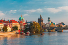 Charles Bridge in Prague (Czech Republic) at evening Stock Images