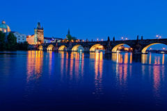 Charles Bridge Prague Czech Republic. The Charles Bridge is a famous historic bridge that crosses the Vltava river in Prague, Czech Republic. Its construction Royalty Free Stock Photography