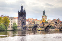 Charles Bridge. Prague. PRAGUE, CZECH REPUBLIC - May 06.2012: Ancient Charles Bridge over the Vltava River, the main sight of city Stock Images