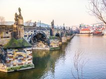 Charles bridge in Prague Czech Republic during morning, close-up. royalty free stock image