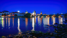 Charles Bridge, Prague, Czech Republic. Charles bridge in Prague at night, Czech Republic Royalty Free Stock Photos